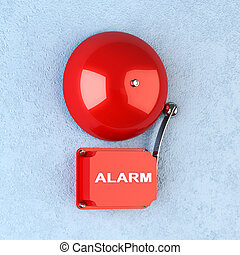 3d render of red retro alarm on blue wall