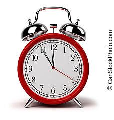 alarm clock - Red alarm clock. 3d image. Isolated white...