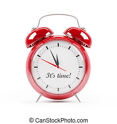 Red alarm clock close up on white
