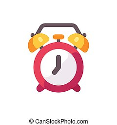 Red alarm clock flat icon
