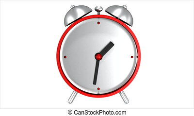 Red alarm clock. 3D animation.