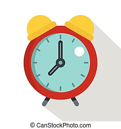 Red alarm clock icon, flat style