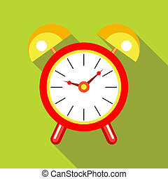 Red alarm clock icon in flat style