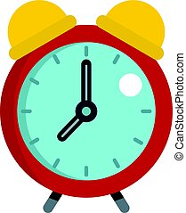 Red alarm clock icon isolated
