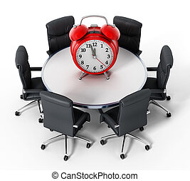 Red alarm clock on round table isolated on white background. 3D illustration