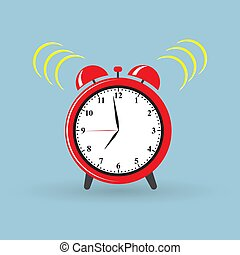 Red alarm clock wake-up time