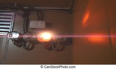 Red Alarm Emergency lighting with anamorphic flares