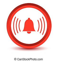 Red alarmclock icon on a white background. Vector...