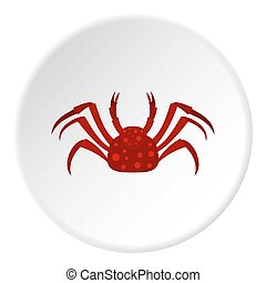 Red Alaska crab icon circle