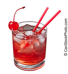 Red alcoholic cocktail decorated with cherry isolated on ...