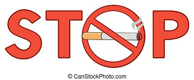 Red Alphabets Stop With Cigarette