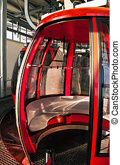 Red alpine cable car