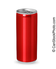 Red aluminum can isolated on white background