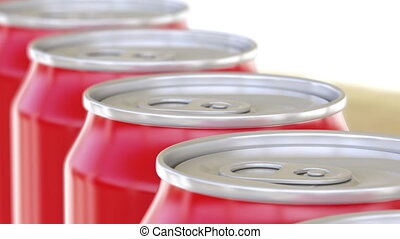 Red aluminum cans moving on conveyor. Soft drinks or beer production line. Recycling packaging. 4K seamless loop dolly clip, shallow focus