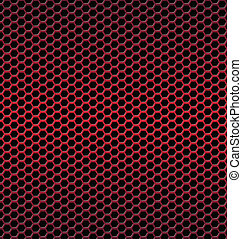Red aluminum Technology background with black hexagon perforated
