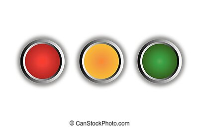 Red, amber and green round buttons