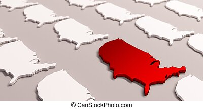 Red America United States Map . 3D Render Illustration - USA...