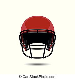 Red american football helmet on white background.