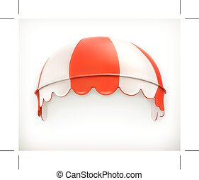 Red an white striped awning, excellent canopy, protection ...