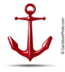 Red anchor on a white background with a metal heavy nautical structure as a marine icon representing strength reliability and stability.