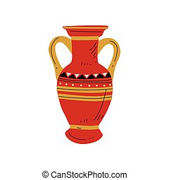 Red Ancient Vase, Symbol of Traditional Egyptian Culture Vector Illustration