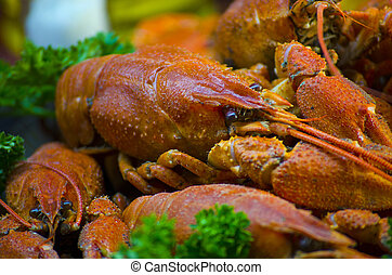 red and appetizing boiled crawfish