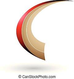 Red and Beige Dynamic Flying Letter C Vector Illustration