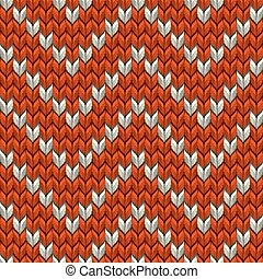 Red and beige knit zig-zag texture. EPS 10 vector