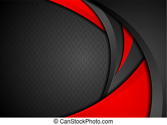Red and black abstract waves vector background