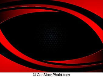 Red and black abstract wavy background - Red and black...