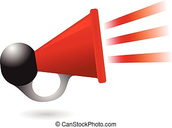 red and black air horn icon vector illustration