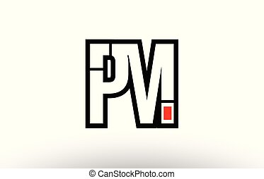 red and black alphabet letter pm p m logo combination icon...
