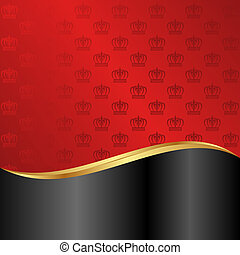 red and black background with crowns