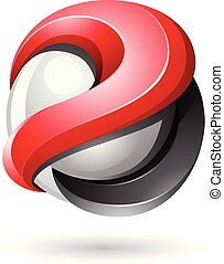 Red and Black Bold Metallic Glossy 3d Sphere Vector Illustration