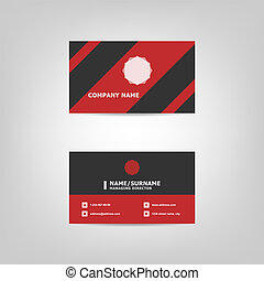 Red and black business card design template