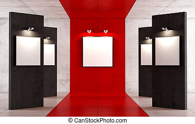 Red and black contemporary art gallery with canvas on...