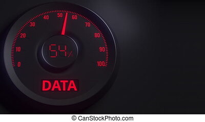 Red and black data meter or indicator, 3D animation - Red...