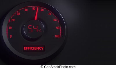 Red and black efficiency meter or indicator, 3D animation -...