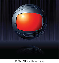 Red and black futuristic globe - Science fiction floating...