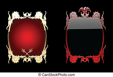Red And Black Glow Ornate Background Double. Vector Illustration.