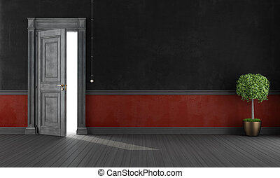 Red and black grunge home entrance