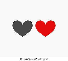 Red and black hearts icons