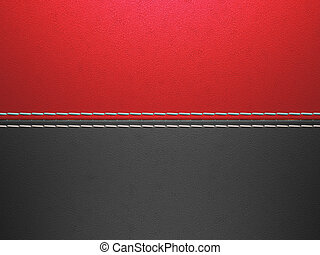 Red and black horizontal stitched leather background. Large...