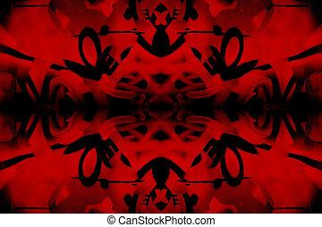 Red and black kaleidoscope graffiti