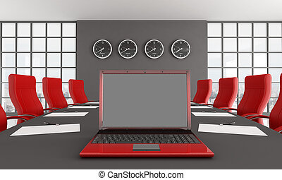 red and black conference room with notebook - rendering - the image on background is a my photo new york 2008