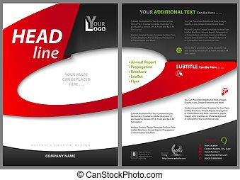 Abstract Flyer Template with Elliptical Shapes - Red and...