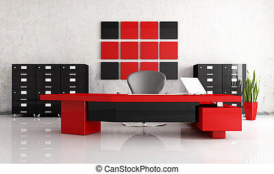 red and black modern office - rendering