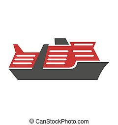 Red and black motor ship hand drawn art pattern isolated
