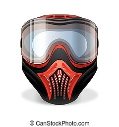 Red and black paintball mask with transparent goggles on white background