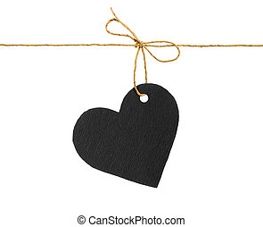 Red and black paper hearts on rope